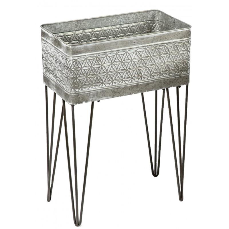 Dekojohnson Pflanzständer Pflanzgefäß grau weiß Metall 38x19x54 cm