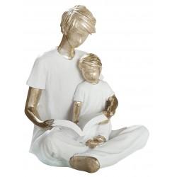 dekojohnson Deko Skulptur Papa mit Kind sitzend 12,5x11,5x14 cm