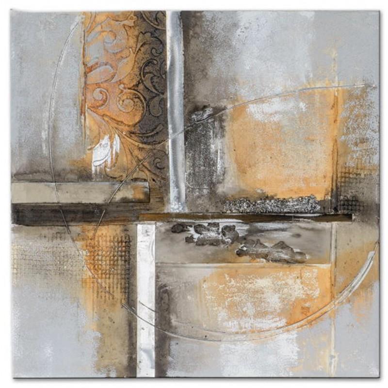 Dekojohnson Wandbild Holz mit Aluminiumdekor 50x50 cm