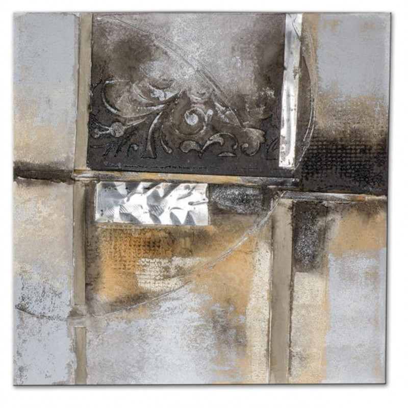 Dekojohnson Wandbild Holz mit antik Aluminiumdekor 50x50 cm