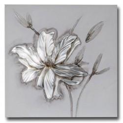 Dekojohnson Wandbild Holz Aluminiumblumen 60x60 cm