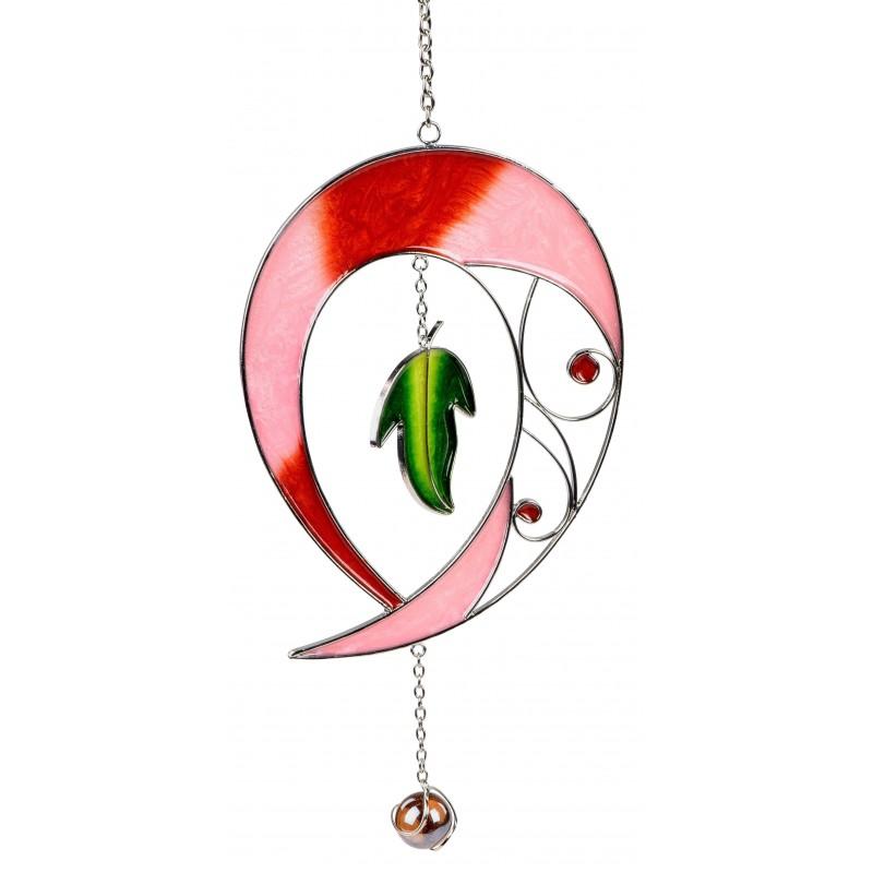 dekojohnson Fensterhänger Dekohänger Tiffany Tropfen rot 28 cm
