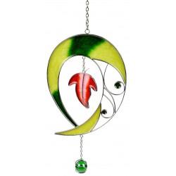 dekojohnson Fensterhänger Dekohänger Tiffany Tropfen grün 28 cm