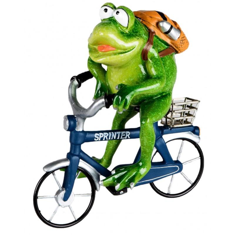 Dekojohnson Dekofigur lustiger Frosch auf Fahrrad
