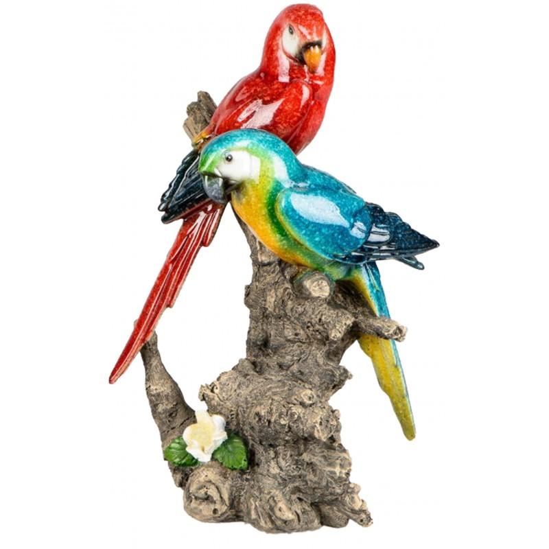 Dekojohnson Dekofigur Papagaienpaar auf Baumstamm