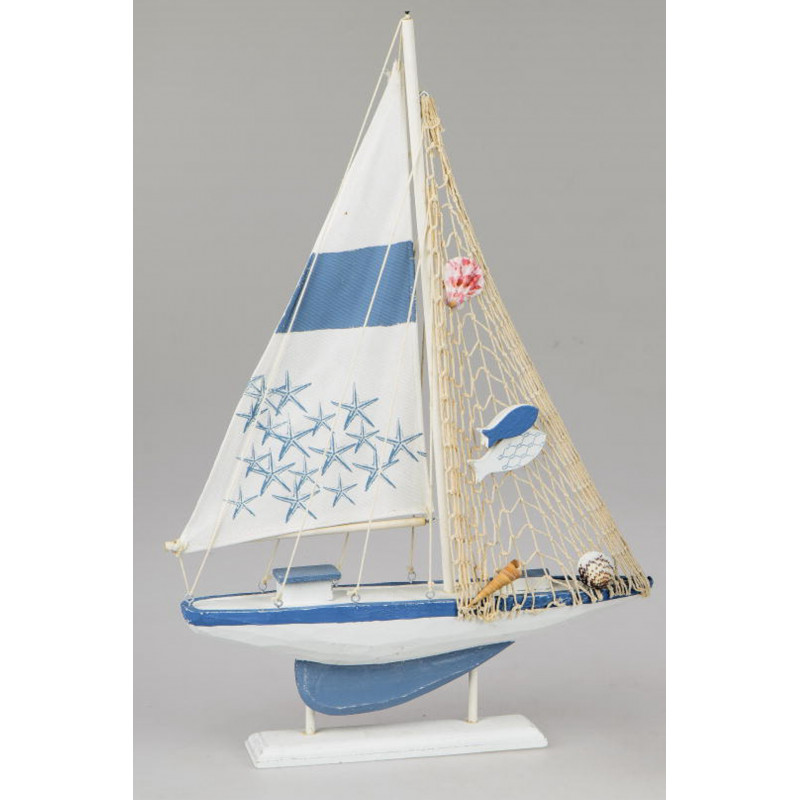 formano Deko Segel Boot aus Holz blau weiß