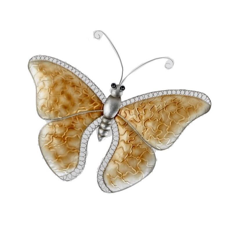 Exlusive Wanddeko Schmetterling champagner aus Metall, 54x45 cm