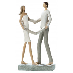 dekojohnson Deko Skulptur Paar mit Herz 25,5x6x13 cm