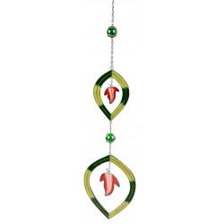 Dekojohnson Moderner Dekohänger Tiffany-Art Blätter Design Grün 48 cm