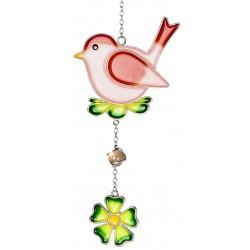 dekojohnson Fensterhänger Dekohänger Tiffany Vogel rosa