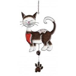 Dekojohnson Tiffany Fensterdeko Dekoanhänger Katze dunkelbraun 15x25 cm