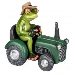 Dekofigur lustiger Frosch auf einem grünen Traktor, hellgrün, 16 cm
