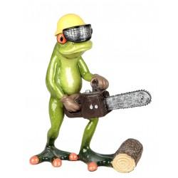 Dekofigur cooler Frosch mit Motorsäge und gelbem Helm, hellgrün, 16 cm