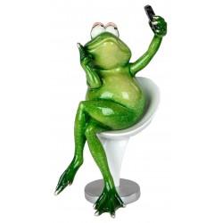 Dekofigur lustige Froschtussi mit Handy 18 cm