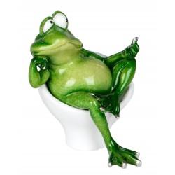 Dekofigur lustiger Frosch im Sessel 12 cm