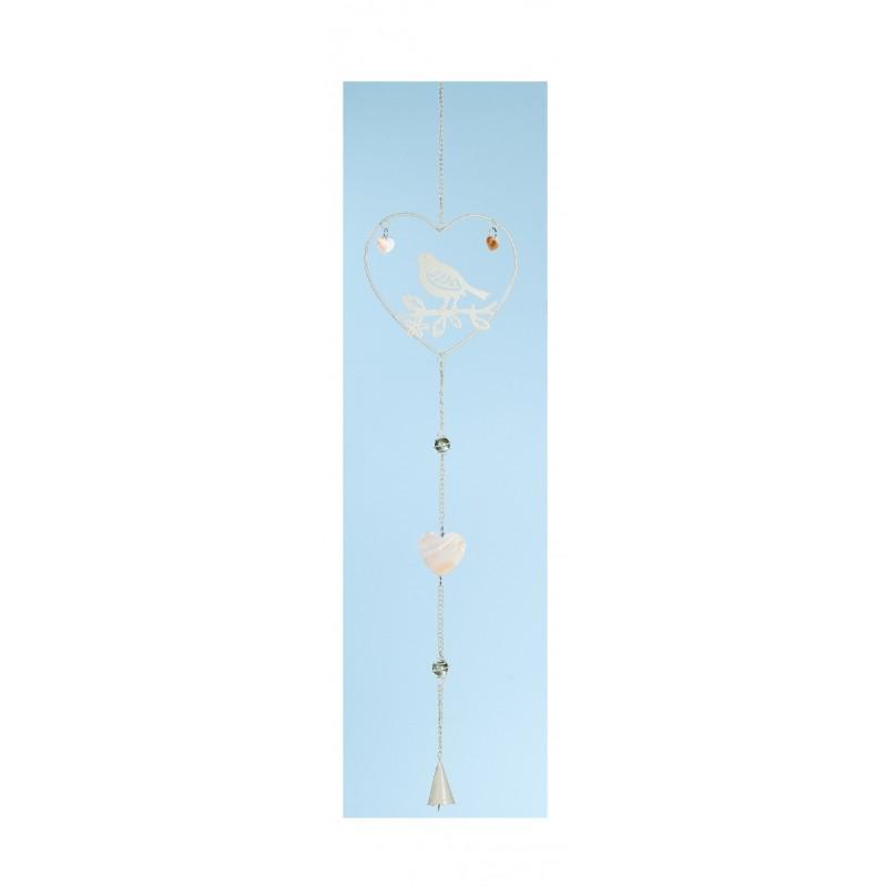 GILDE Hänge Deko Herz mit eingehängtem Vogel Metall 80 cm
