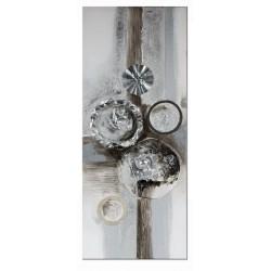Dekojohnson Wandbild Holz mit Aluminiumkreisen 100x40 cm