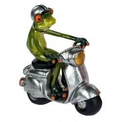 Deko Figur lustiger Frosch auf Roller grün silber 15x16 cm