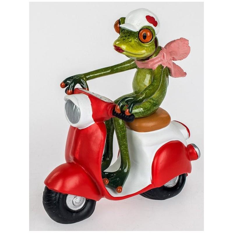 Deko Figur lustiger Frosch auf Roller grün rot 15x16 cm