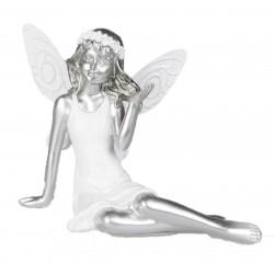 Dekojohnson Deko Elfe weiß silber sitzend 15x10x9 cm