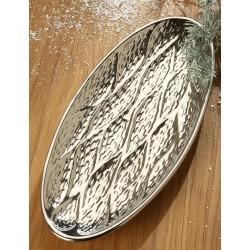 GILDE Dekoschale Gota Keramik platin oval 16,5x37x2 cm