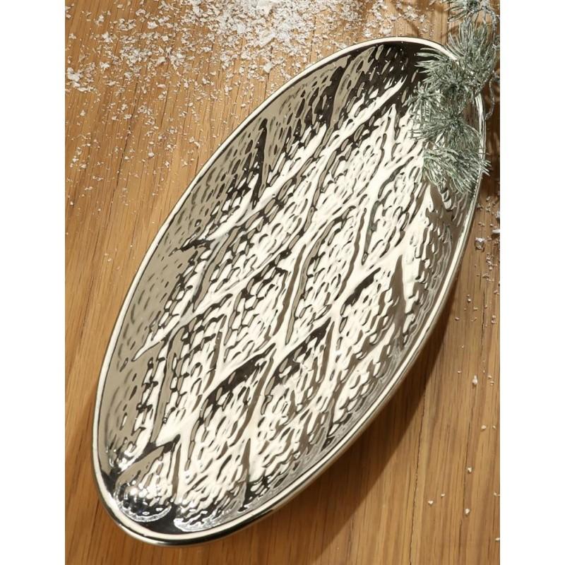 GILDE exklusive Dekoschale Gota Keramik platin oval 16,5x37x2 cm