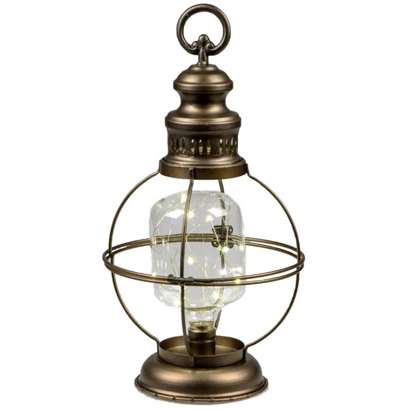 Dekojohnson Laterne nordischer Stil LED Beleuchtung 21x14x40 cm