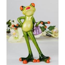 Dekofigur lustige Froschtussi mit Handtasche 15 cm