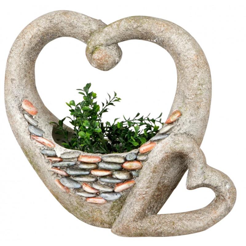 dekojohnson Pflanzgefäß Deko Herz Stones antikfarben mit Steinen 42 cm