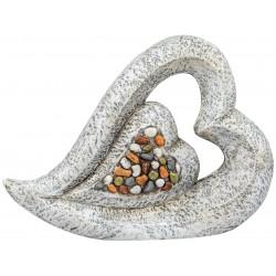 dekojohnson Gartenskulptur Herz Steinfarben Antik Stones 53 cm