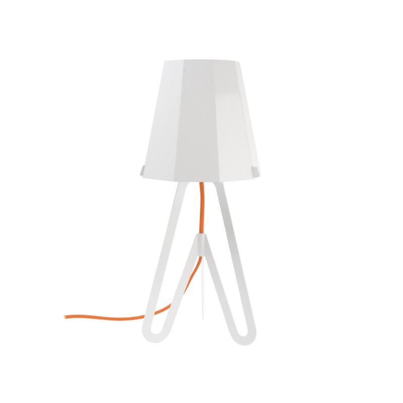 LEITMOTIV Tischleuchte Flow Weiß mit rotem Kabel