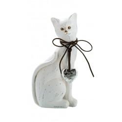 GILDE exklusive Dekofigur Katze weiß gewischt mit Silberherz, 11,5x27 cm