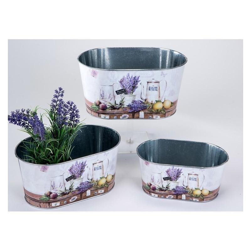 formano Jardiniere Pflanzgefäß Lavendel Metall 3er Set