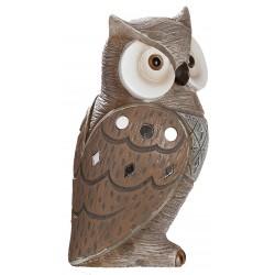dekojohnson Eule Owl Eulen-Figur - Deko-Eule als Eulen Geschenke für Weihnachten Eulen-Skulptur Spiegelmosaik Braun 15cm