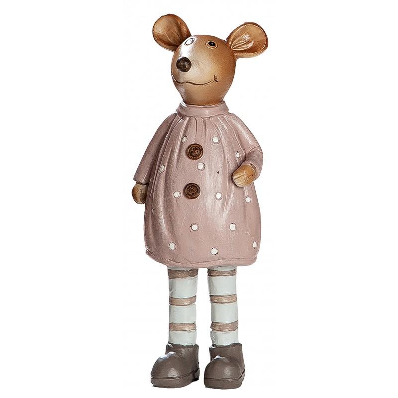 dekojohnson Deko Maus Mäuse Frau creme braun 16cm