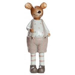 dekojohnson Deko Maus Mäuserich Mann creme braun 16cm