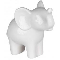 dekojohnson Deko Elefant aus Porzellan stehend weiss 19 cm