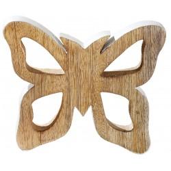dekojohnson Deko Schmetterling Mango Holz braun weiß 17cm