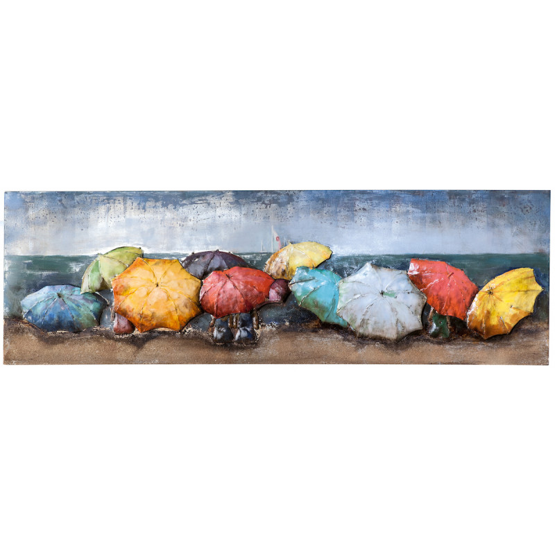 GILDE Metall Bild Beach of Parasols 180x60x6 cm