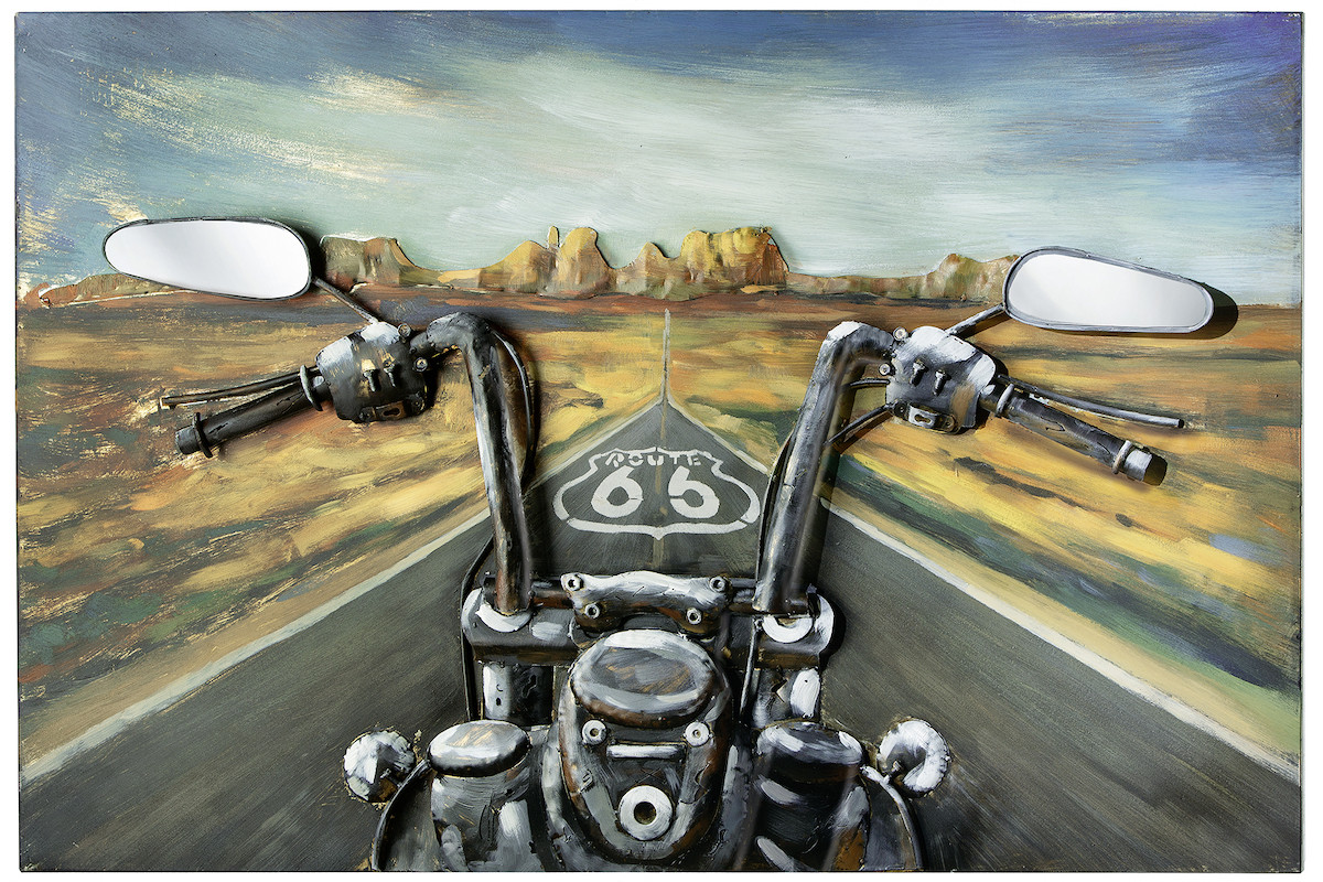 GILDE Metall Bild Route 66 Through USA 3D 120x80x7 cm