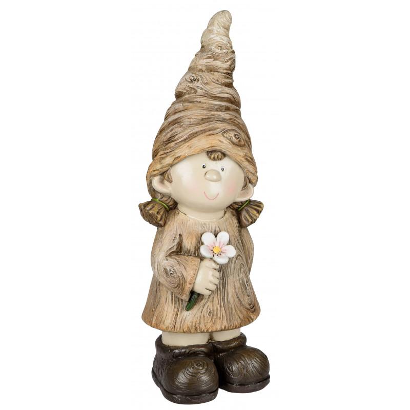 dekojohnson Deko Figur Wichtel Herbstkind Mädchen creme braun
