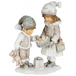 dekojohnson Figur Winterkinder Mädchen Junge Nostalgie Deko