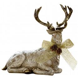 dekojohnson Rentier Weihnachtsdeko Figur gold beige 22x20cm