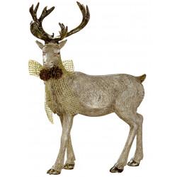 dekojohnson Rentier Figur gold beige 23x28cm Weihnachten