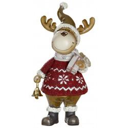dekojohnson Elch Weihnachts Figur mit Laterne rot gold beige 11x21cm
