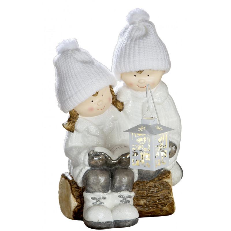 dekojohnson Winterkinder Mädchen Junge LED Laterne weiß grau außen 47cm