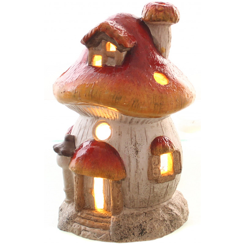 Windlicht Pilzhaus Deko Rot Weiß Kerzenhalter Wetterfest 24cm