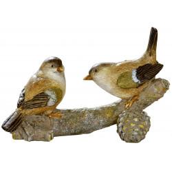dekojohnson Deko Figur Vogel Paar auf Ast grün braun beige