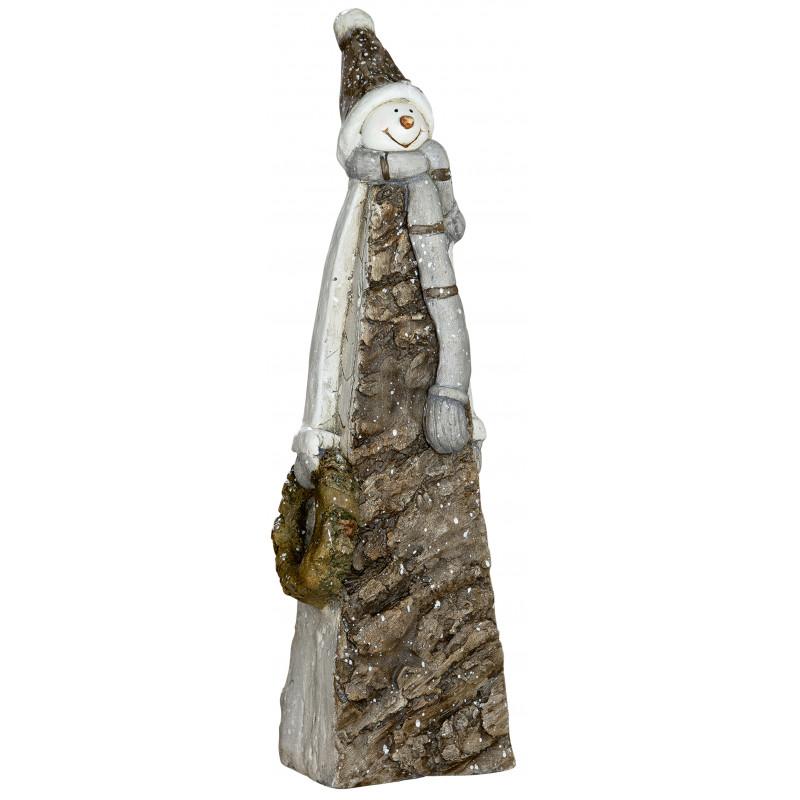 Schneemann Deko Figur in Rindenoptik braun grau 50cm