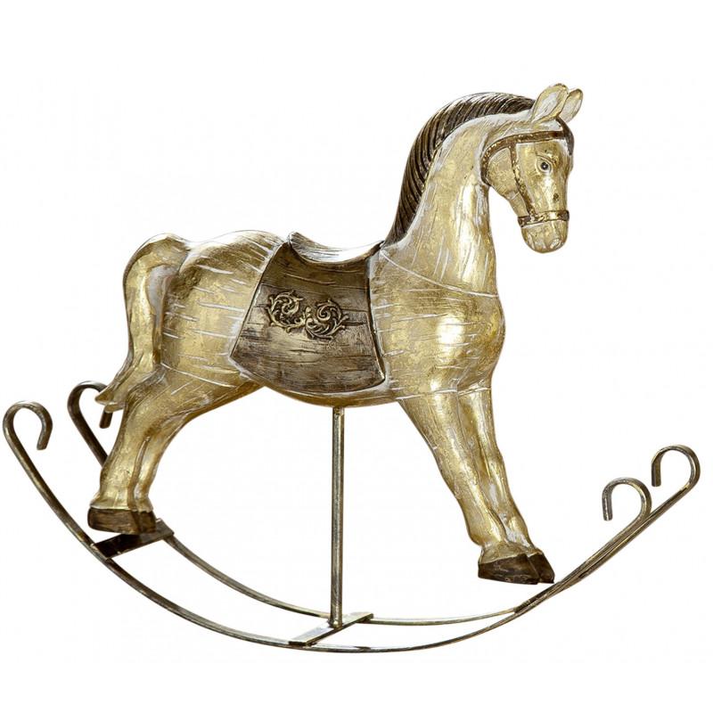 Schaukelpferd  Nostalgie Deko Figur Vintage gold Metallschaukeln 6x26x24cm